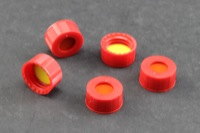 9 mm Red Polypropylene Caps w/ Pre-Inserted Ultra GC/MS/PTFE Septa
