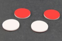 ".060"" Thick, Red Teflon/White Silicone Septa for 20mm Snap Tops"